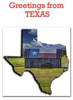 Greetings from Texas Flag Shed Buckboard